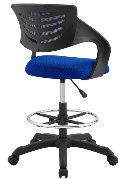 Thrive Blue Breathable Mesh Drafting Chair with Foot Ring by Modway