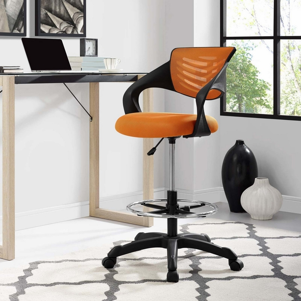 Thrive Orange Breathable Mesh Drafting Chair with Foot Ring by Modway