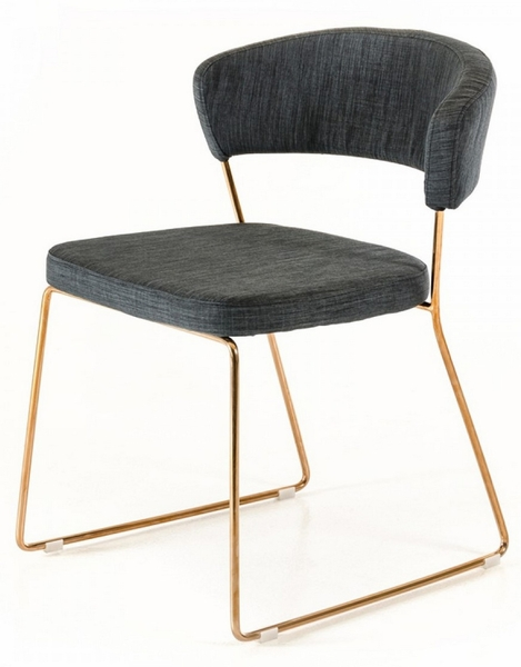Ashland 2 Grey Fabric/Rosegold Metal Side Chairs by VIG Furniture