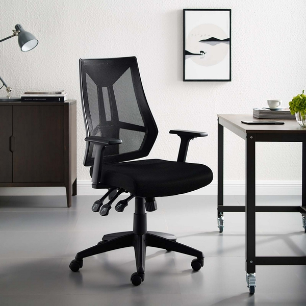 Extol Black Breathable Mesh Office Chair by Modway