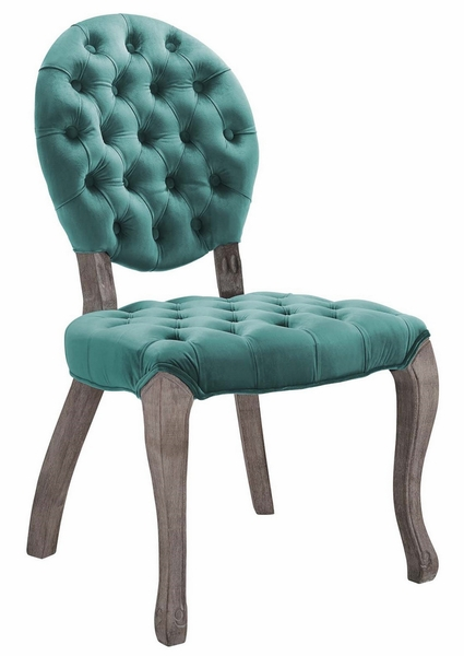 Exhibit Teal Velvet Fabric/Wood Side Chair by Modway