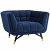 Adept Midnight Blue Velvet Tufted Armchair w/Flared Armrests by Modway
