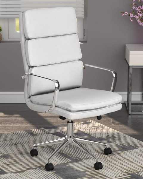 Destin White Leatherette/Metal Adjustable Office Chair by Coaster