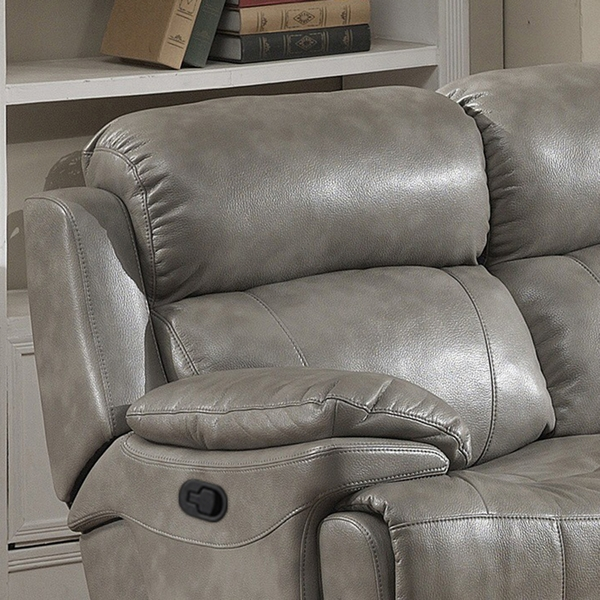 Estella 2-Pc Gray Leather Gel Manual Recliner Sofa Set by AC Pacific