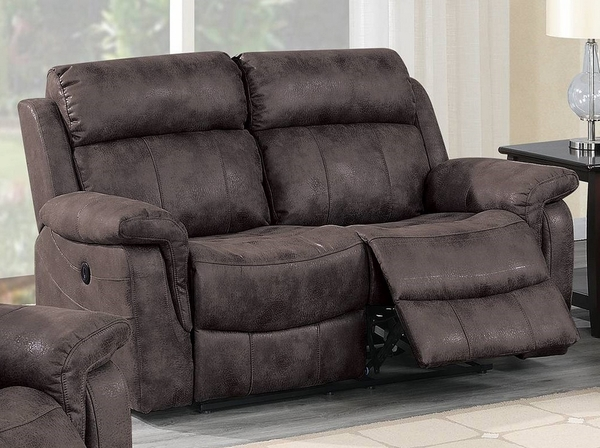 Hannah Brown Leather-Like Fabric Power Recliner Loveseat by Poundex