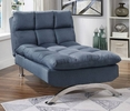 Aristo Blue Linen-Like Fabric Chaise by Furniture of America