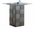 Zavala Clear Glass/Silver Wood Square Counter Height Table by Poundex