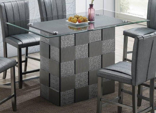 Zavala Clear Glass/Silver Rectangular Counter Height Table by Poundex