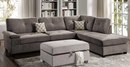 Ashton 2-Pc Charcoal Waffle Suede Reversible Sectional Sofa by Poundex