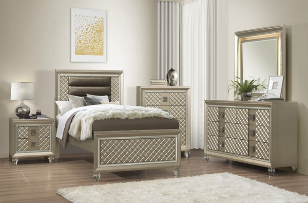 Loudon Champagne Metallic Wood Youth Chest by Homelegance