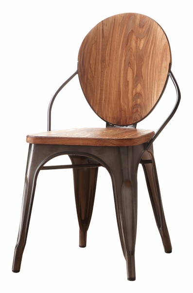 Rayne 2 Natural Finish Wood/Gunmetal Steel Side Chairs by Acme