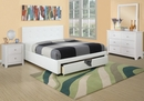 Carla White Faux Leather Queen Platform Storage Bed by Poundex