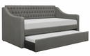 LaBelle Gray Fabric Tufted Twin Daybed with Trundle by Homelegance