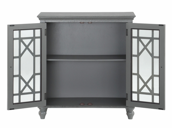 Eliza Antique Gray Wood Accent Chest with Glass Inlay by Homelegance