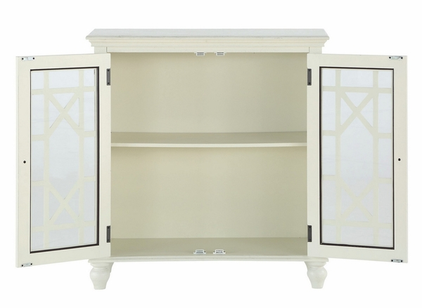 Eliza Antique White Wood Accent Chest with Glass Inlay by Homelegance