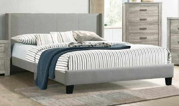 Adrianne Grey Polyfiber Fabric Queen Bed by Poundex