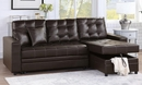 Corrie Espresso Reversible Sectional with Pull-Out Bed by Poundex