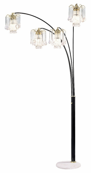 Elouise Black Metal Arch Lamp w/Marble Base by Furniture of America