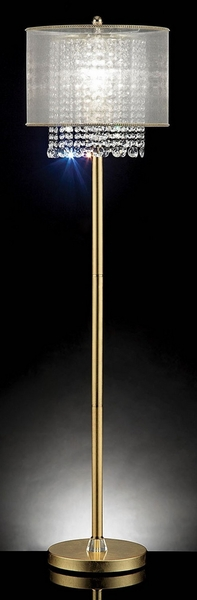 Ana Gold Metal Floor Lamp w/Hanging Crystals by Furniture of America