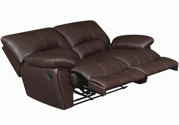 Clifford Chocolate Leather Manual Recliner Loveseat by Coaster
