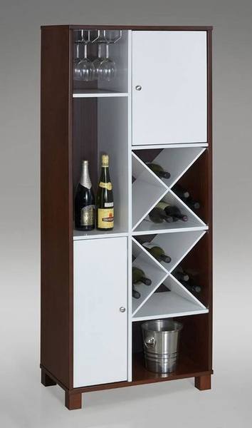 Isa Espresso & White Wood Wine Tower by Asia Direct