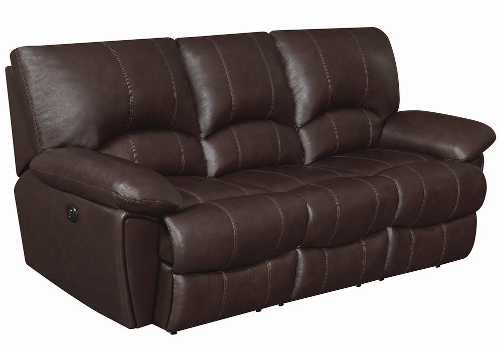 Clifford 3-Pc Chocolate Leather Power Recliner Sofa Set by ...