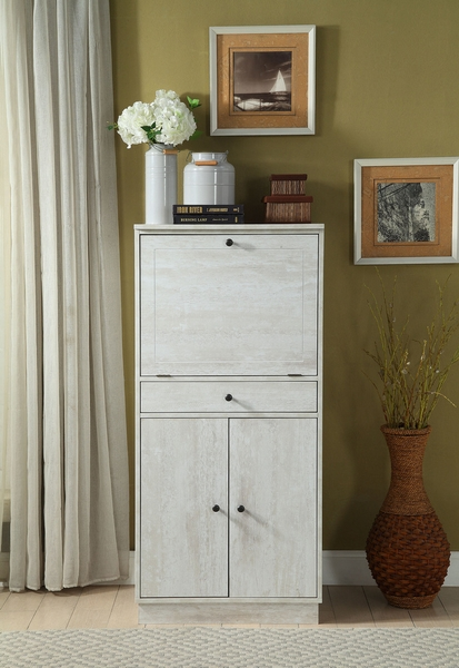 Wiesta Antique White Finish Wood Wine Cabinet with Drawer by Acme