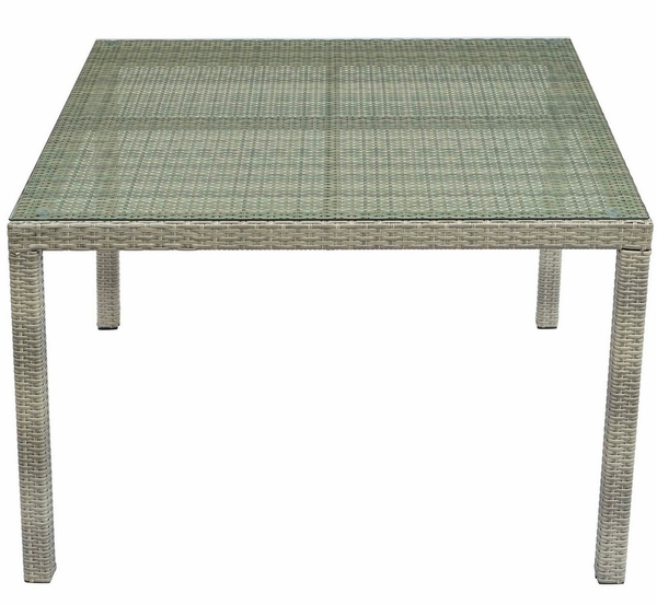 Conduit Light Gray Rattan/Glass Square Patio Dining Table by Modway