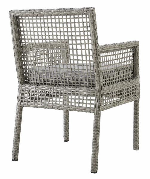Aura Gray Wicker Rattan Patio Armchair with Gray Cushion by Modway