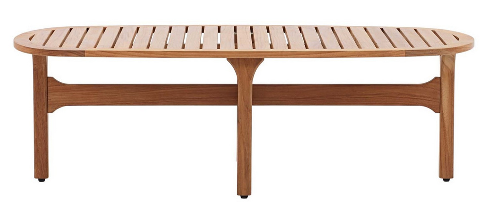 Saratoga Natural Teak Wood Oval Patio Coffee Table by Modway