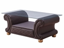 Apolo Brown Genuine Italian Leather Coffee Table by ESF
