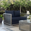 Aura Gray Wicker Rattan Patio Loveseat with Navy Cushion by Modway