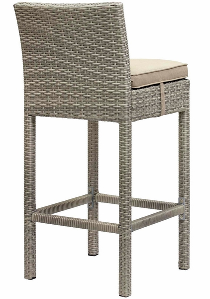 Conduit Light Gray Rattan Patio Bar Chair with Beige Cushion by Modway