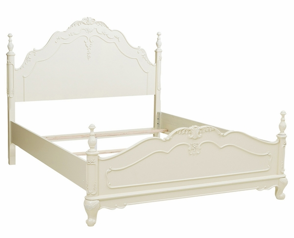 Cinderella White Wood Full Bed with Floral Carving by Homelegance