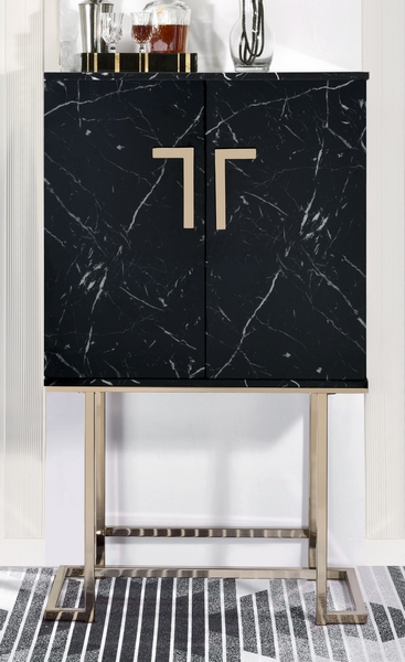 Hendrix Black Faux Marble/Champagne Metal Wine Cabinet by Acme