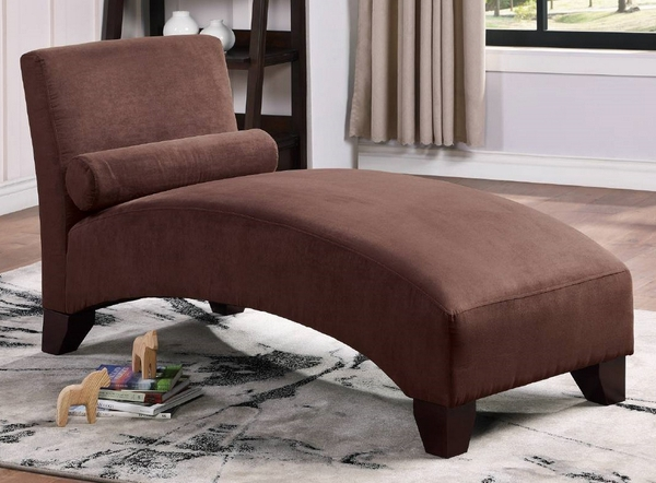 Lily Chocolate Microfiber Chaise Lounge by Poundex