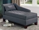 Lillia Slate Black Fabric Tufted Chaise Lounge with Storage by Poundex