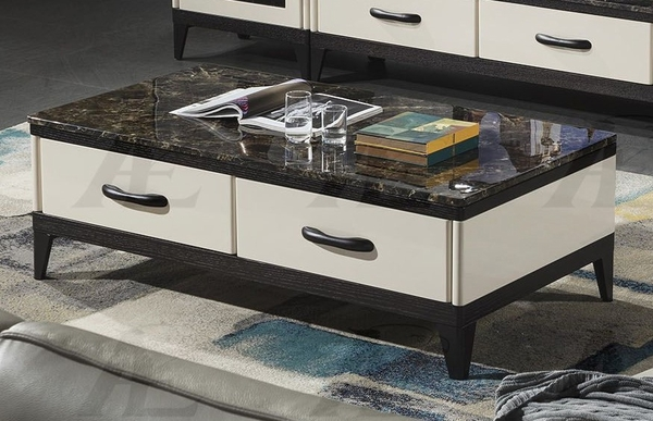 Alia Black Faux Marble/Wood Coffee Table by American Eagle Furniture