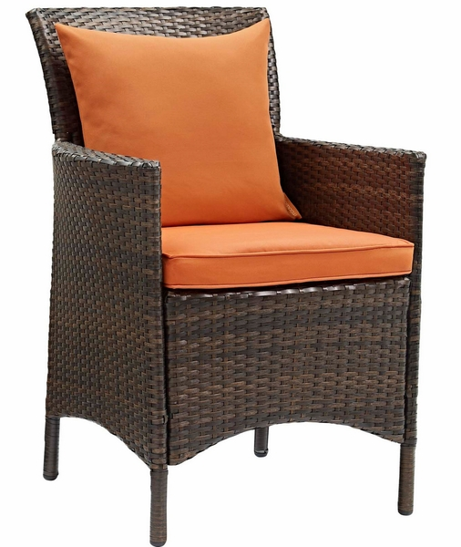 Conduit Brown Rattan Patio Armchair with Orange Cushion by Modway