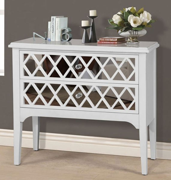 Luisella White Wood Entry Table Cabinet w/2 Shelves by Asia Direct