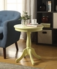 Alger Light Yellow Wood Round Side Table by Acme