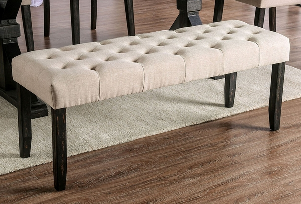 Alfred Ivory Linen-Like Fabric Dining Bench by Furniture of America