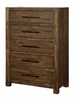Coney Walnut Wood 5-Drawer Chest by Furniture of America