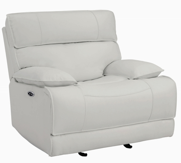 Stanford White Leather Power Glider Recliner by Coaster