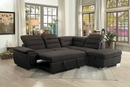 Platina 3-Pc Chocolate RAF Sectional with Pull-Out Bed by Homelegance