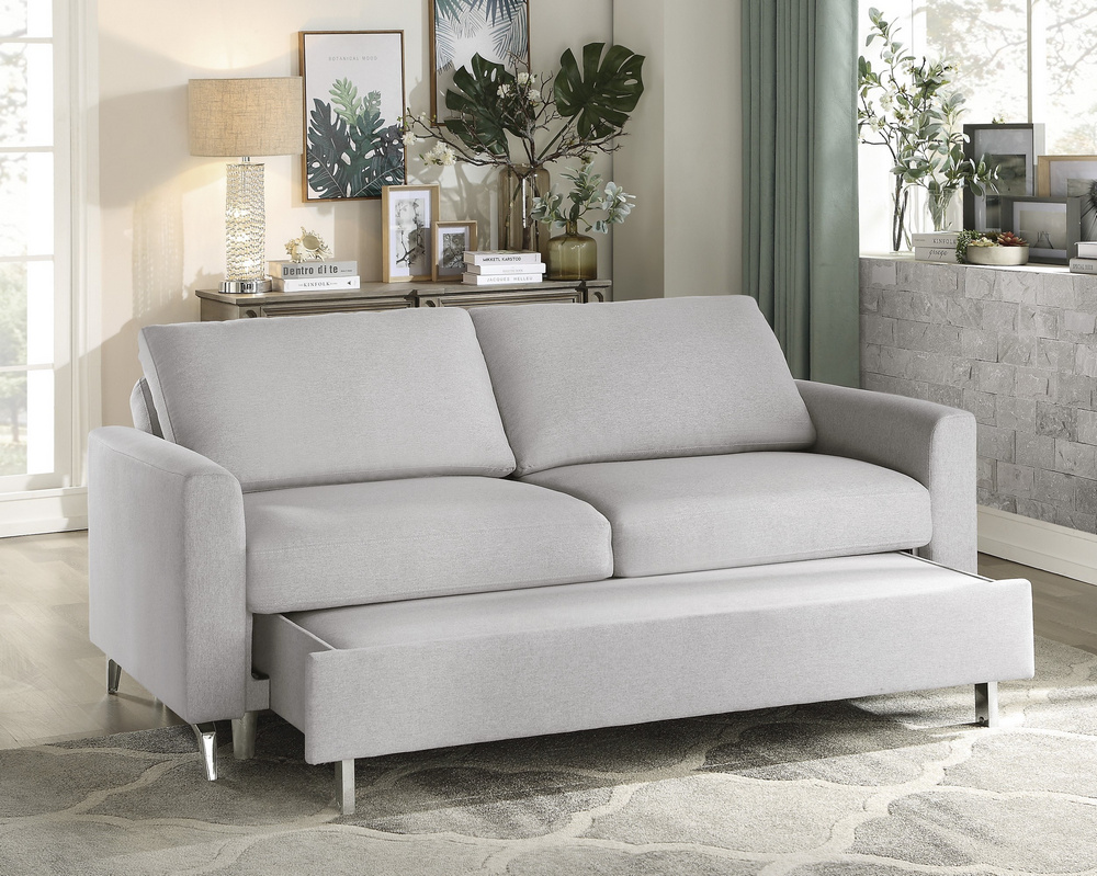 Price Gray Fabric Convertible Sofa w/ Pull Out Bed by ...