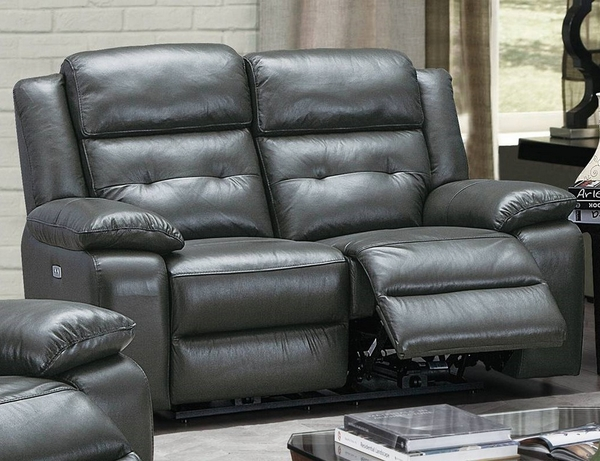 Dorotea Slate Grey Leatherette Power Recliner Loveseat by Poundex