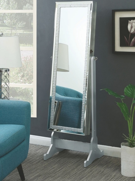 Valent Silver Crystal Pattern Wood Frame Mirror by Coaster