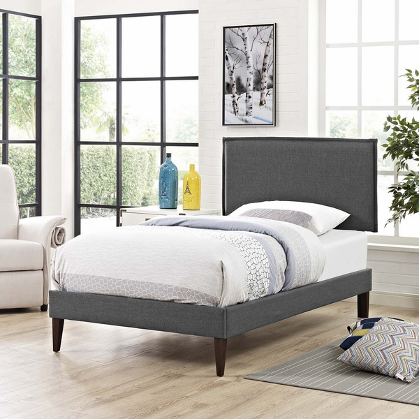 Amaris Gray Fabric Twin Bed with Squared Tapered Legs by Modway