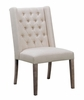 Burnham 2 Beige Linen-Like Fabric Button Tufted Side Chairs by Coaster